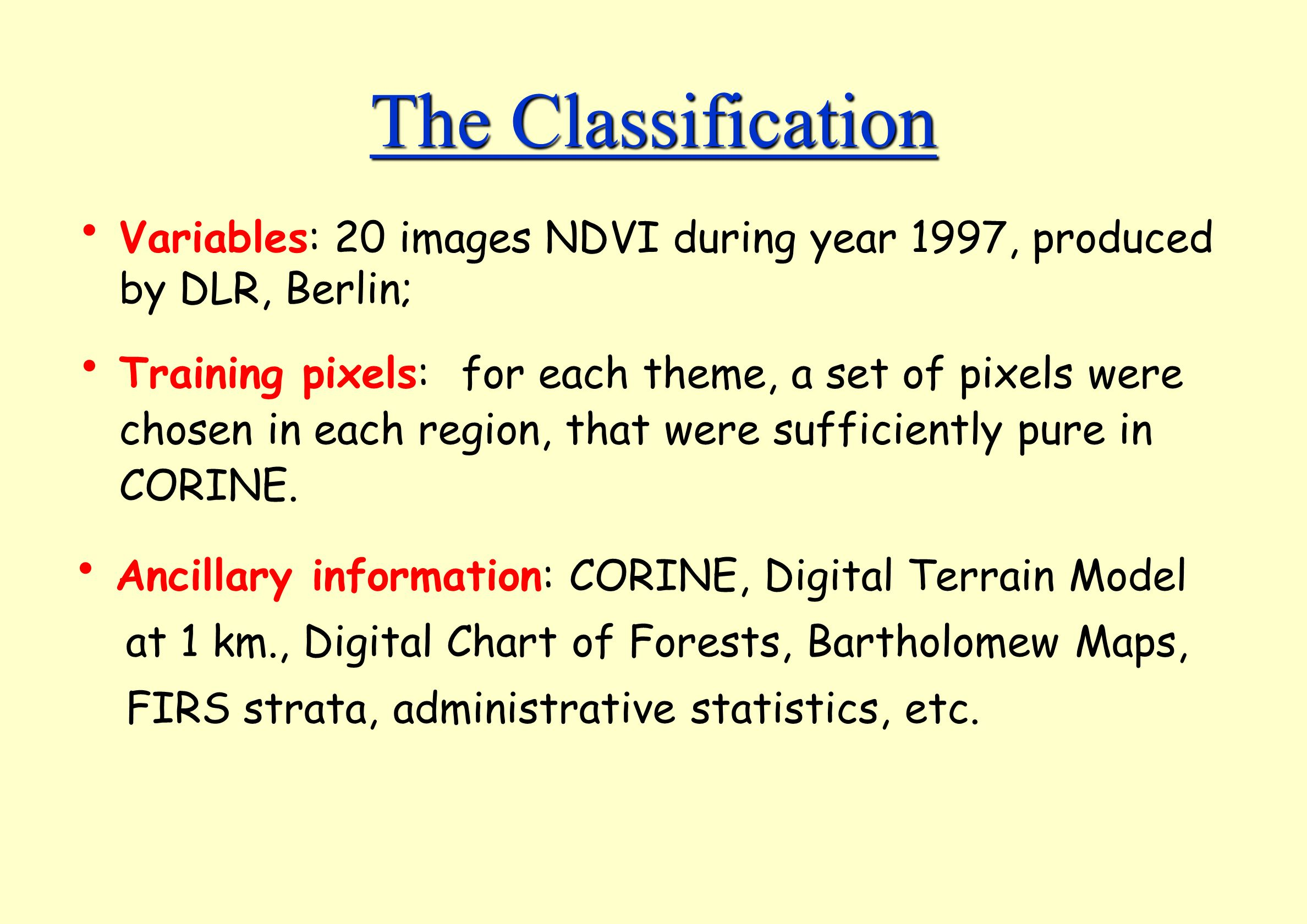 The Classification Variables: 20 images NDVI during year 1997, produced by DLR, Berlin;