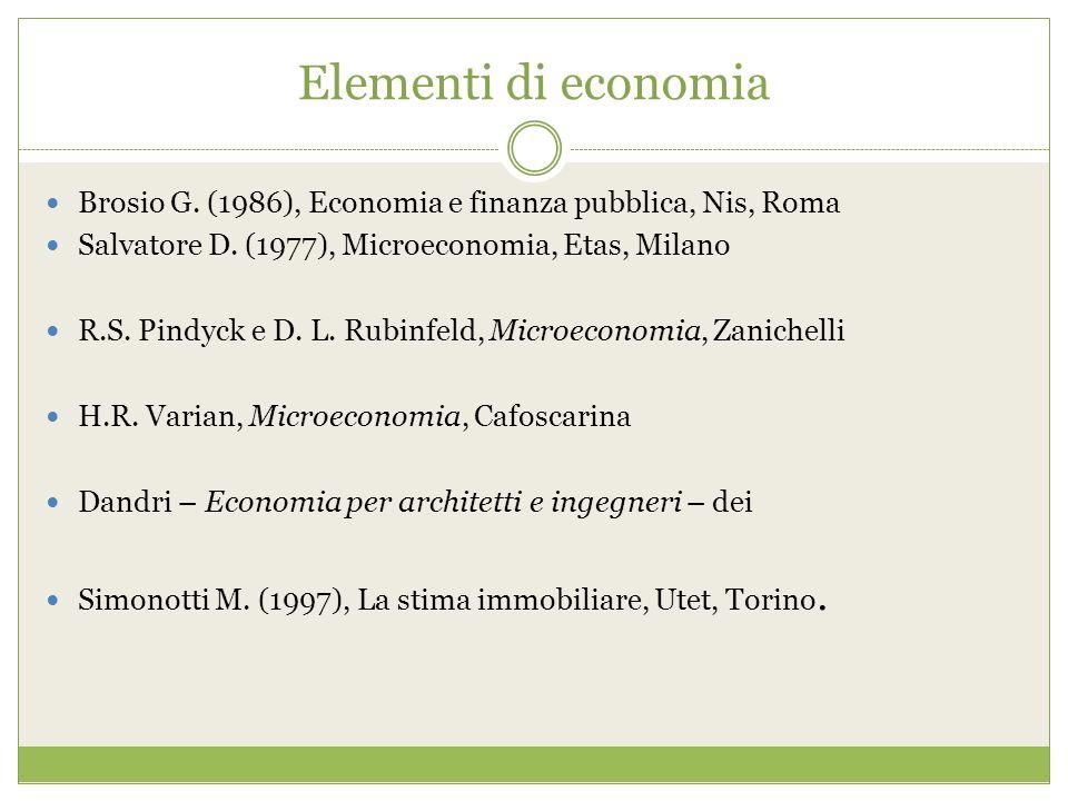 Elementi di economia Brosio G. (1986), Economia e finanza pubblica, Nis, Roma. Salvatore D. (1977), Microeconomia, Etas, Milano.