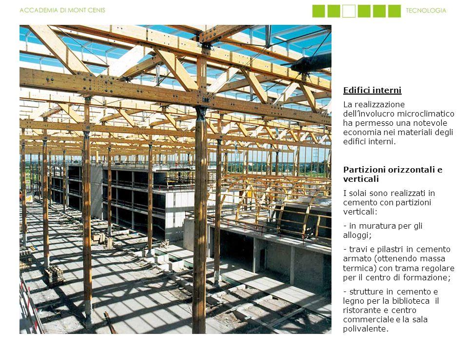 Edifici interni La realizzazione dell'involucro microclimatico ha permesso una notevole economia nei materiali degli edifici interni.