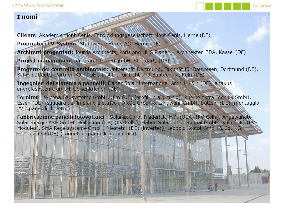 I nomi Cliente: Akademie Mont-Cenis, Entwicklungsgesellschaft Mont-Cenis, Herne (DE) Proprietari PV-System: Stadtwerke Herne AG, Herne (DE)