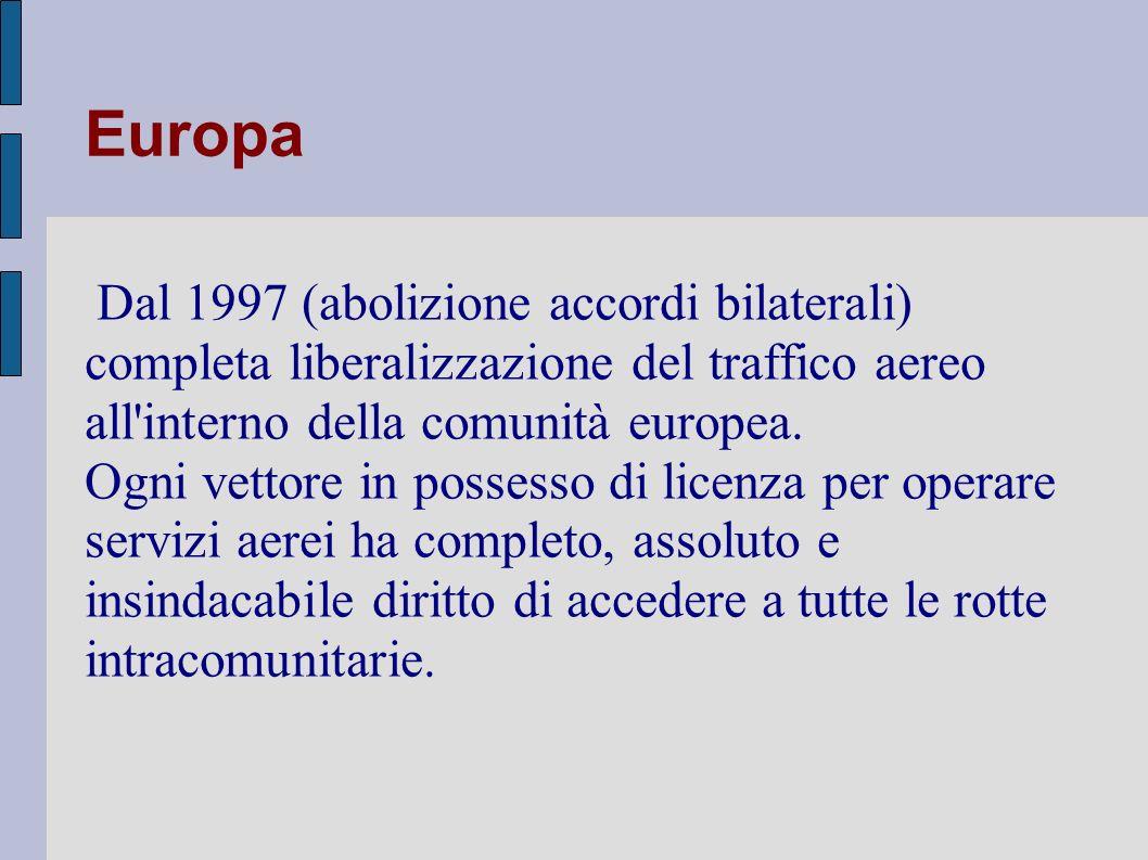 Europa Dal 1997 (abolizione accordi bilaterali) completa liberalizzazione del traffico aereo all interno della comunità europea.