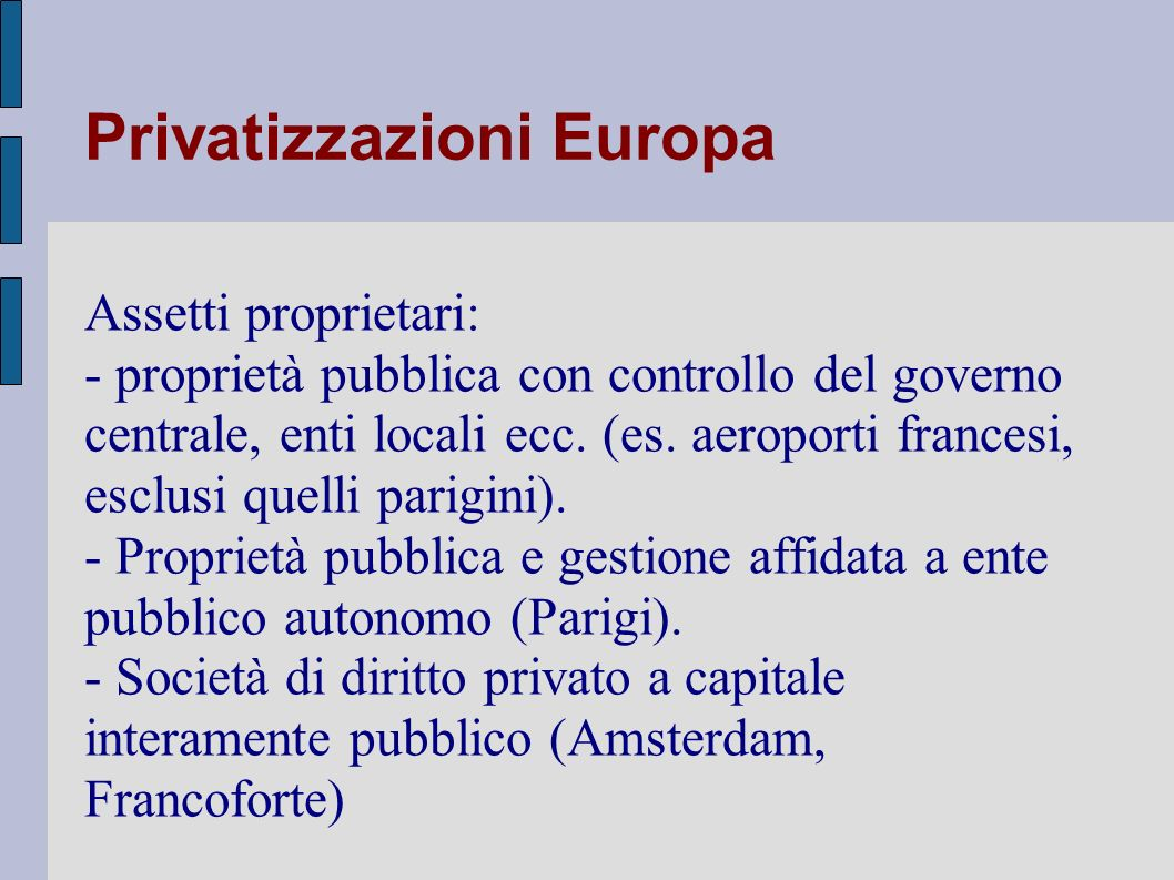 Privatizzazioni Europa
