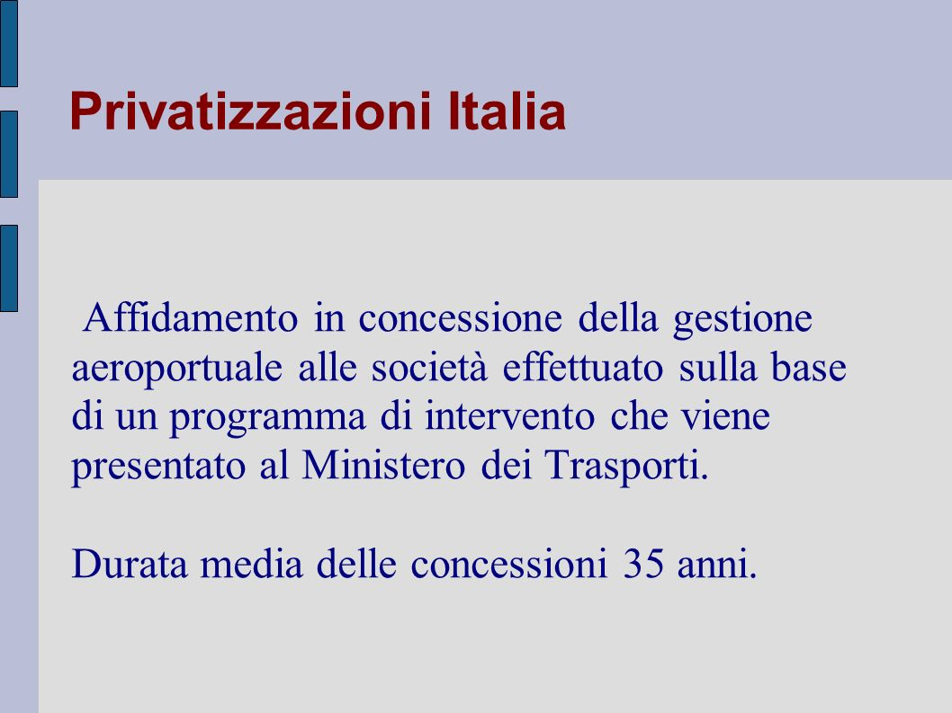 Privatizzazioni Italia