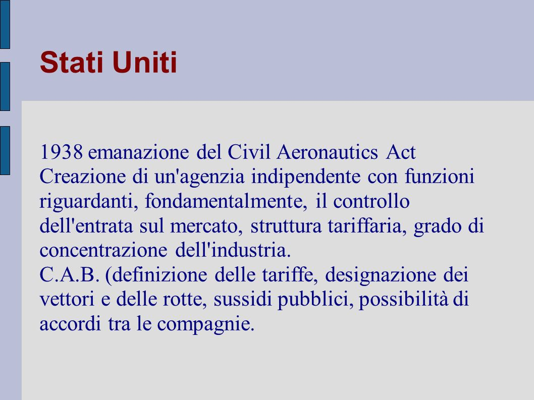 Stati Uniti 1938 emanazione del Civil Aeronautics Act