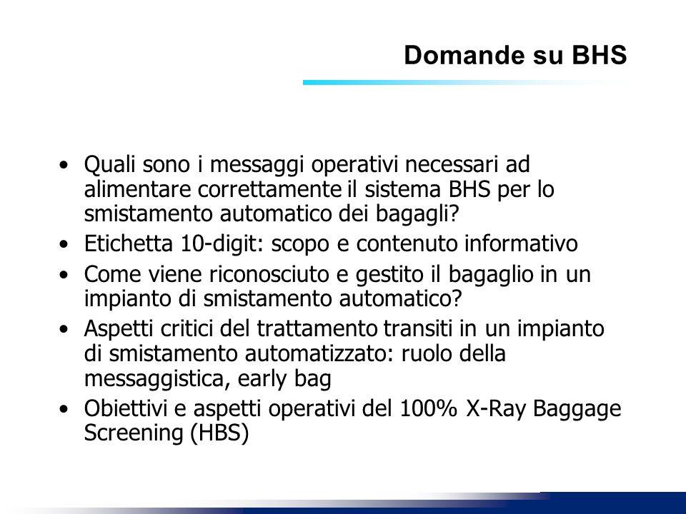 Domande su BHS Quali sono i messaggi operativi necessari ad alimentare correttamente il sistema BHS per lo smistamento automatico dei bagagli