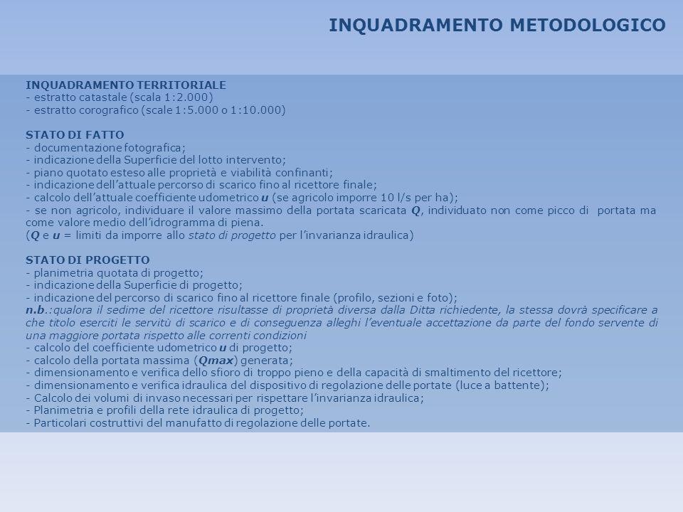 INQUADRAMENTO METODOLOGICO
