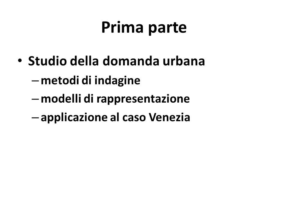 Prima parte Studio della domanda urbana metodi di indagine