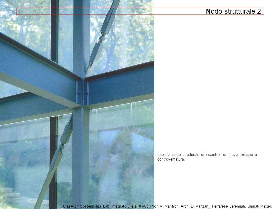 Nodo strutturale 2 foto del nodo strutturale di incontro di trave, pilastro e controventatura.