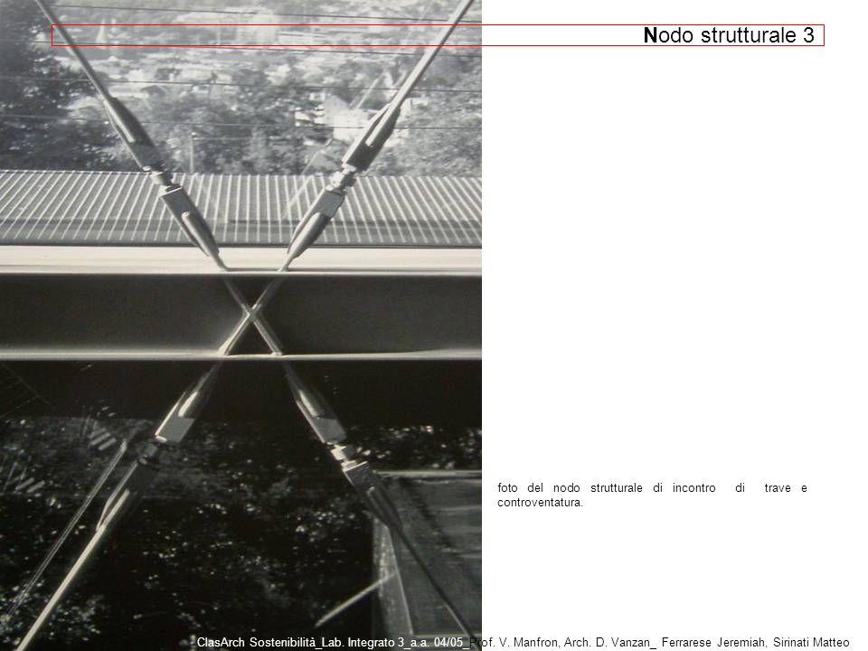 Nodo strutturale 3 foto del nodo strutturale di incontro di trave e controventatura.
