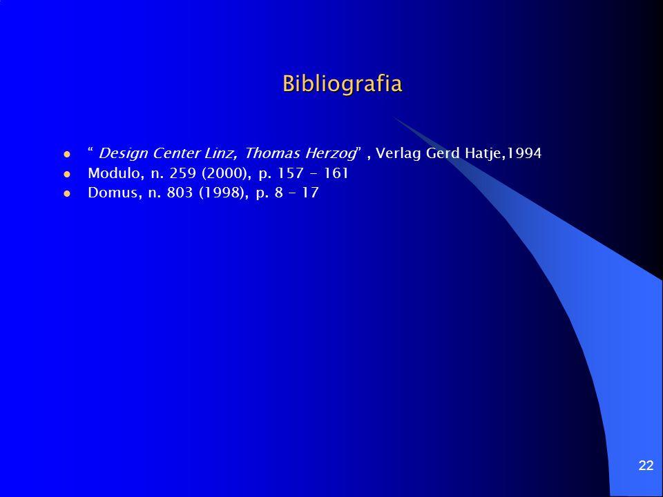 Bibliografia Design Center Linz, Thomas Herzog , Verlag Gerd Hatje,1994. Modulo, n. 259 (2000), p. 157 - 161.