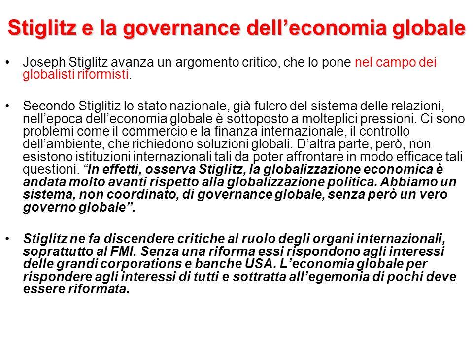 Stiglitz e la governance dell'economia globale