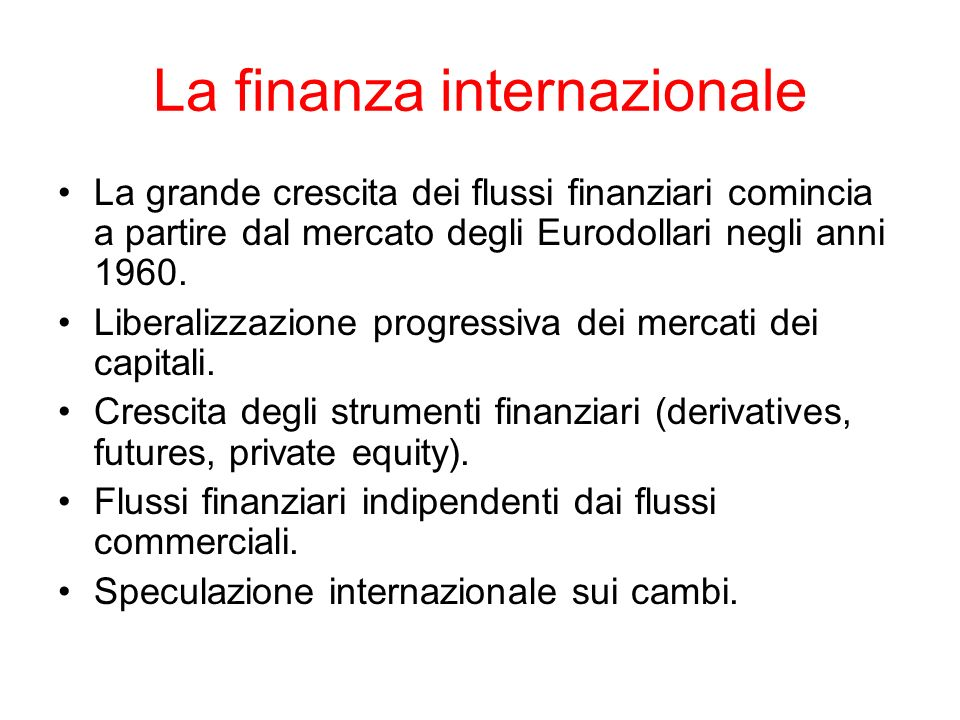 La finanza internazionale