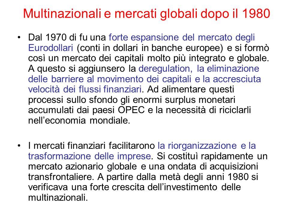 Multinazionali e mercati globali dopo il 1980