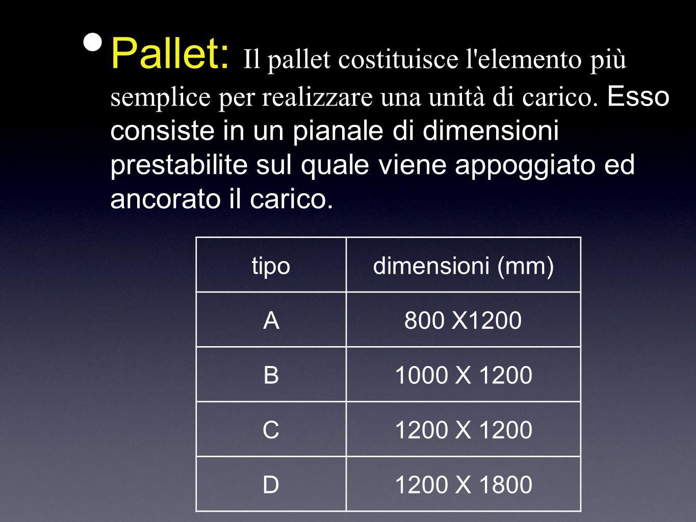 Pallet: Il pallet costituisce l elemento più semplice per realizzare una unità di carico. Esso consiste in un pianale di dimensioni prestabilite sul quale viene appoggiato ed ancorato il carico.