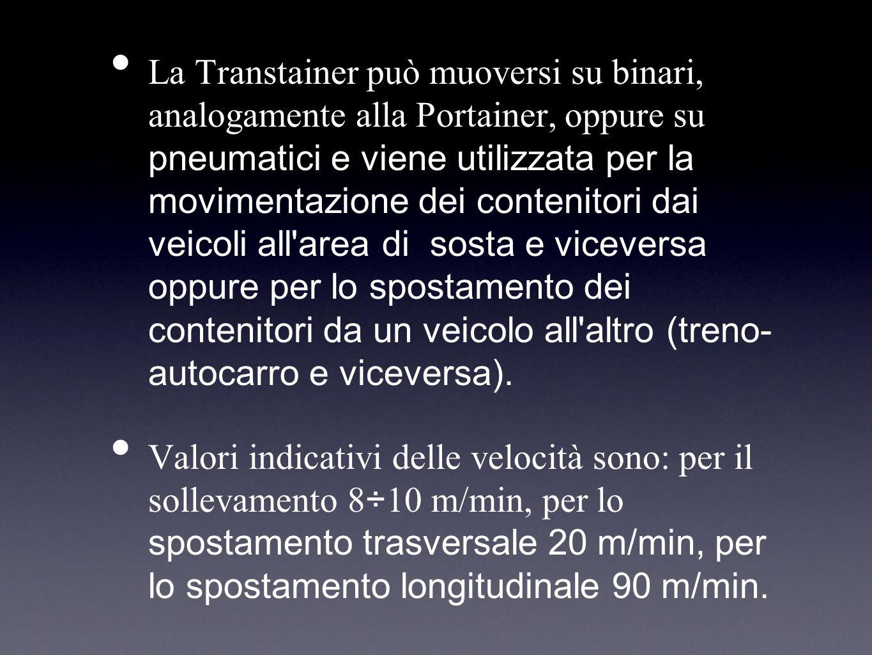 La Transtainer può muoversi su binari, analogamente alla Portainer, oppure su pneumatici e viene utilizzata per la movimentazione dei contenitori dai veicoli all area di sosta e viceversa oppure per lo spostamento dei contenitori da un veicolo all altro (treno- autocarro e viceversa).