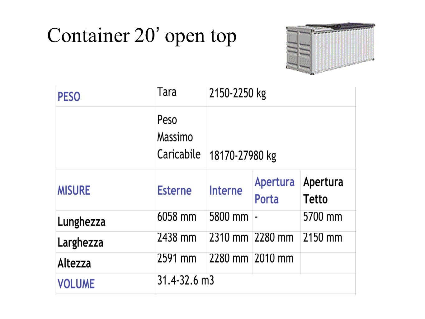 Container 20' open top