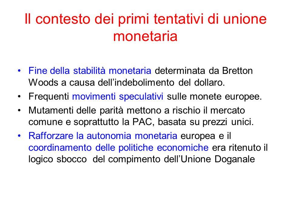 Il contesto dei primi tentativi di unione monetaria