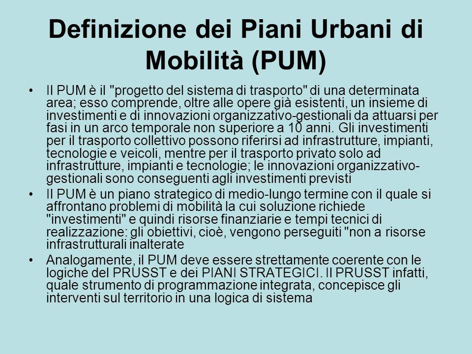 Definizione dei Piani Urbani di Mobilità (PUM)