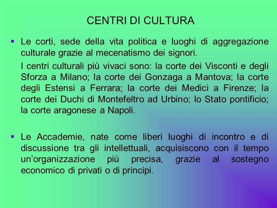 CENTRI DI CULTURA Le corti, sede della vita politica e luoghi di aggregazione culturale grazie al mecenatismo dei signori.