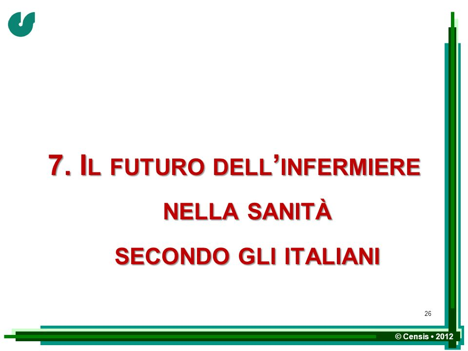 7. Il futuro dell'infermiere nella sanità secondo gli italiani