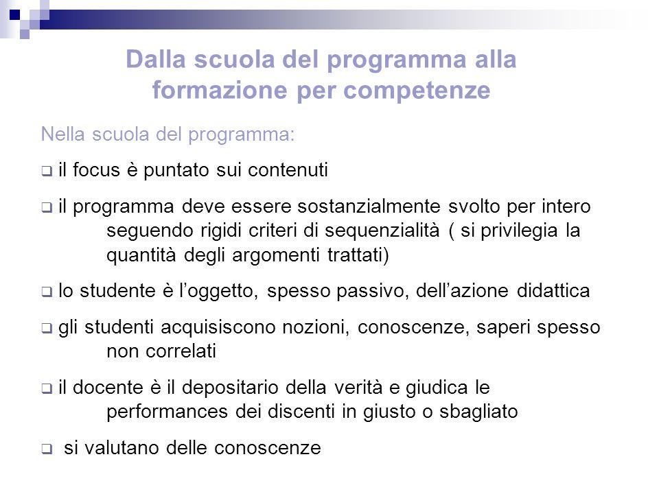 Dalla scuola del programma alla formazione per competenze