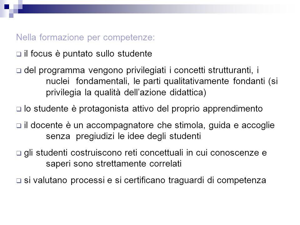 Nella formazione per competenze: