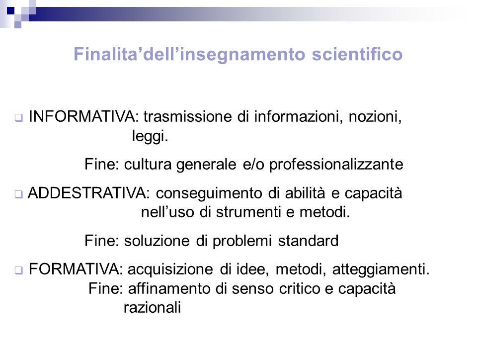 Finalita'dell'insegnamento scientifico
