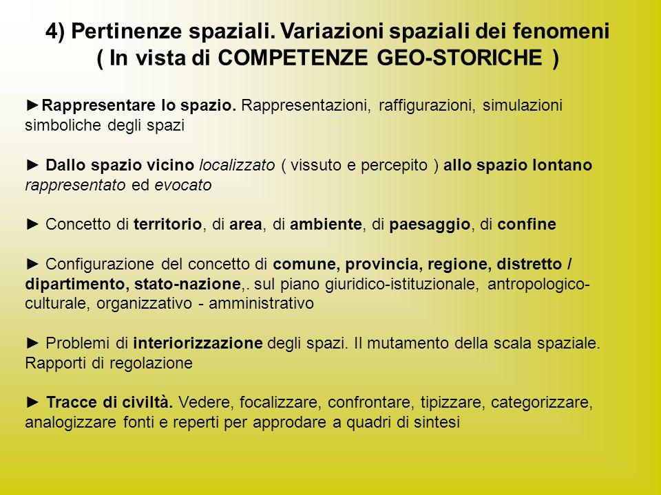 4) Pertinenze spaziali. Variazioni spaziali dei fenomeni