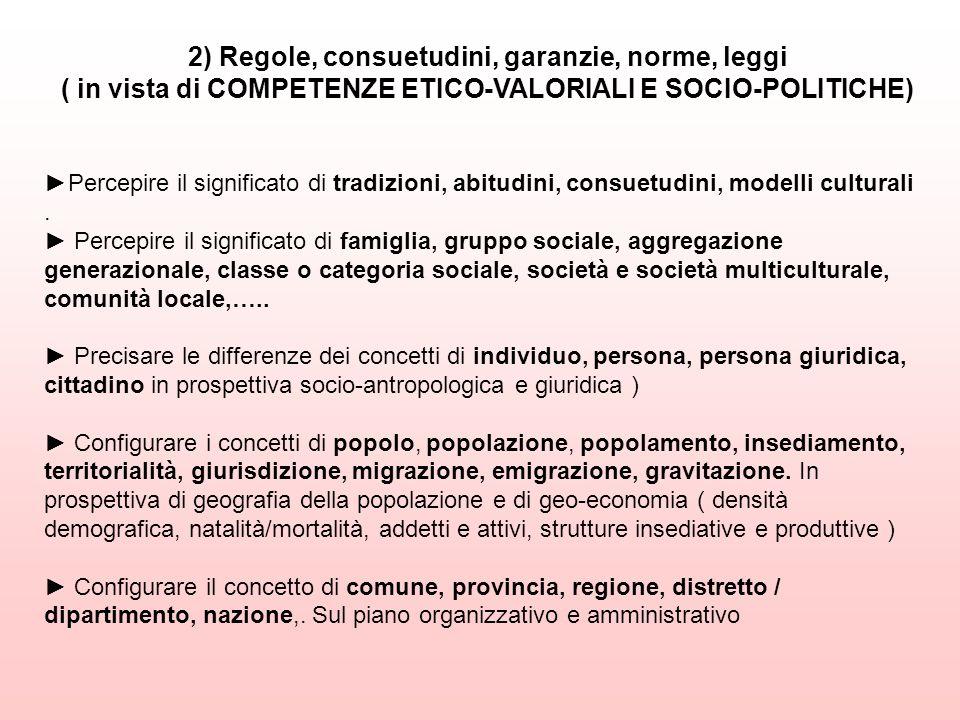 2) Regole, consuetudini, garanzie, norme, leggi ( in vista di COMPETENZE ETICO-VALORIALI E SOCIO-POLITICHE)