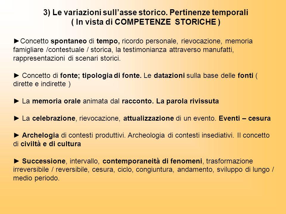 3) Le variazioni sull'asse storico. Pertinenze temporali