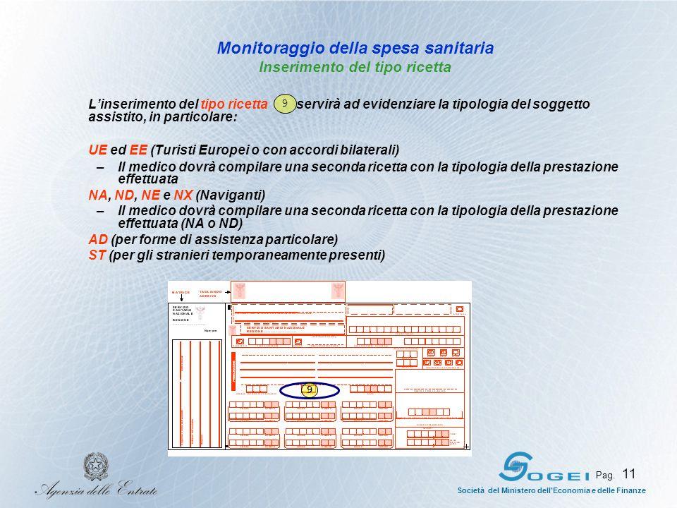Monitoraggio della spesa sanitaria Inserimento del tipo ricetta