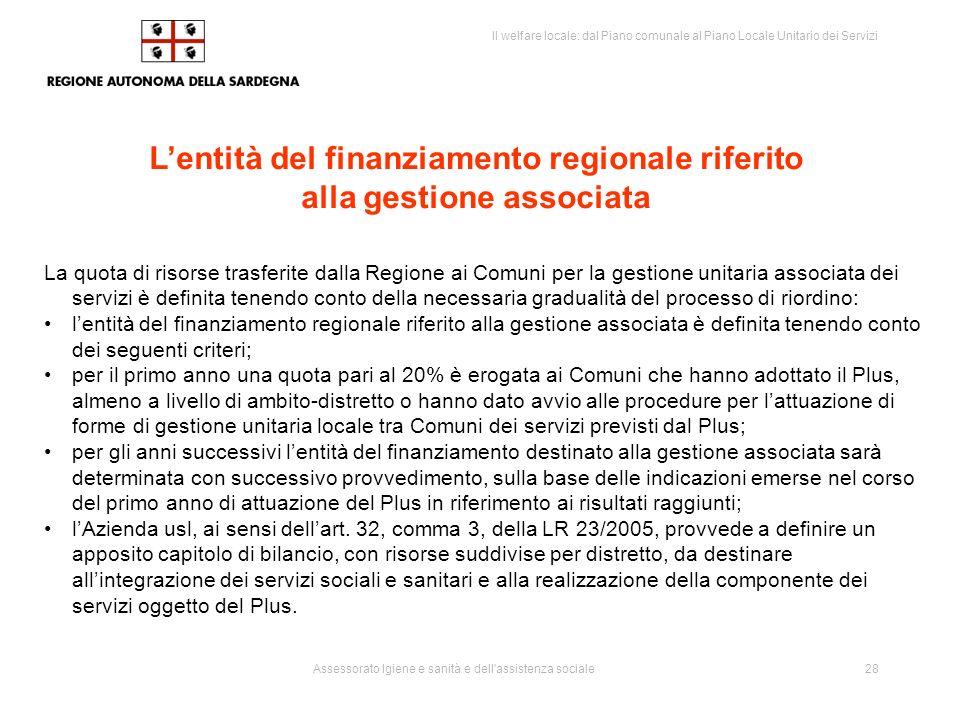 L'entità del finanziamento regionale riferito alla gestione associata