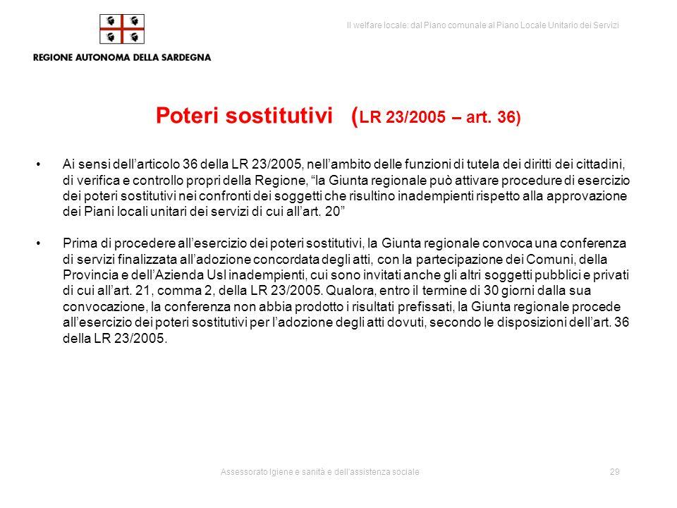 Poteri sostitutivi (LR 23/2005 – art. 36)