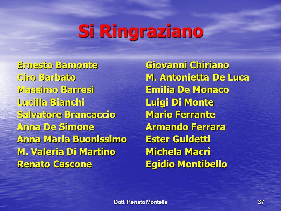 Si Ringraziano Ernesto Bamonte Ciro Barbato Massimo Barresi
