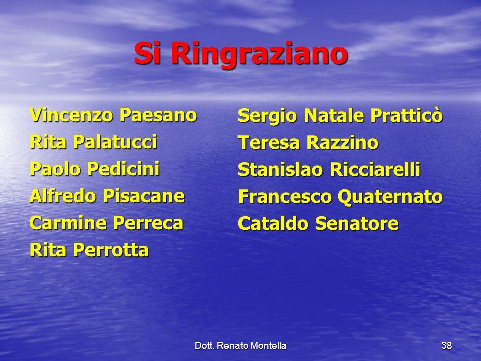 Si Ringraziano Vincenzo Paesano Sergio Natale Pratticò Rita Palatucci