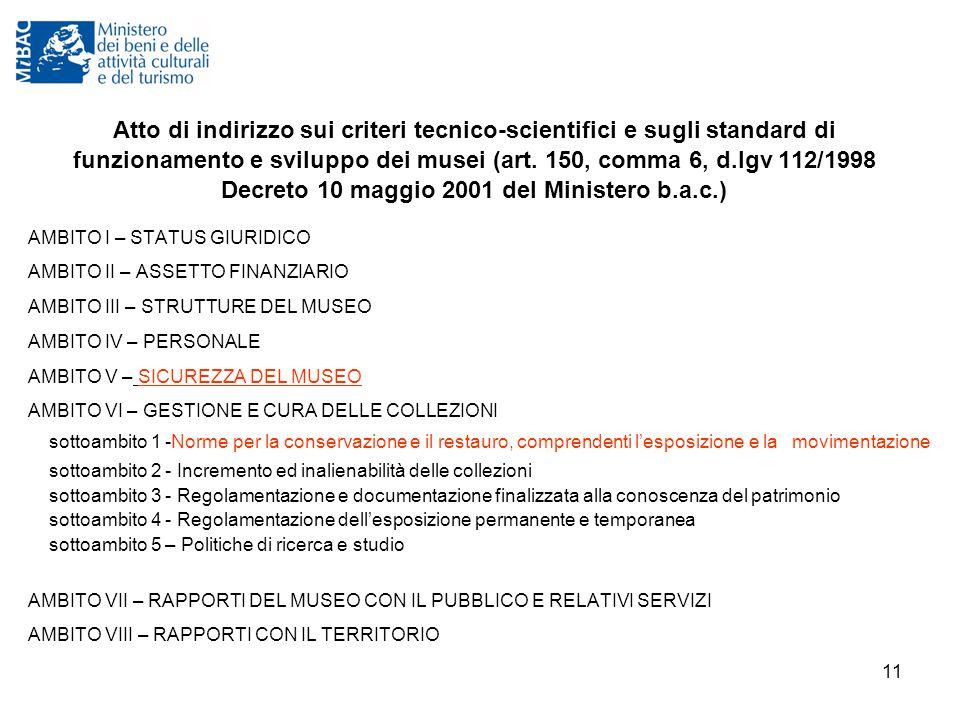 Atto di indirizzo sui criteri tecnico-scientifici e sugli standard di funzionamento e sviluppo dei musei (art. 150, comma 6, d.lgv 112/1998 Decreto 10 maggio 2001 del Ministero b.a.c.)