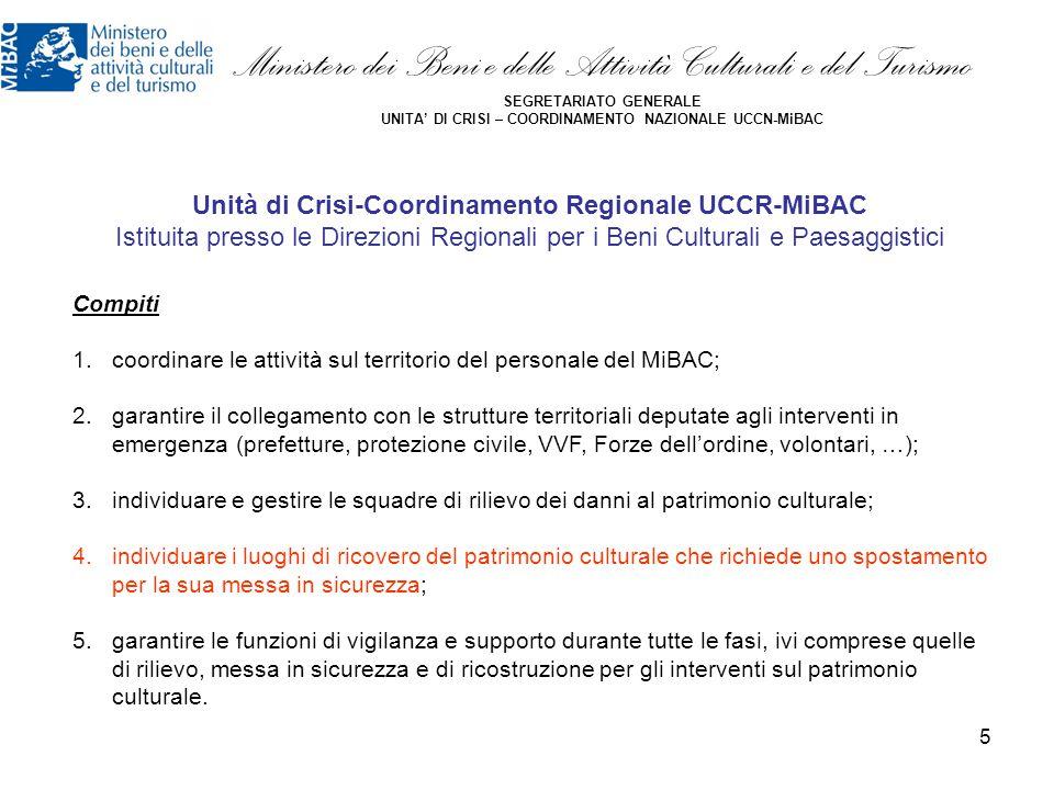Unità di Crisi-Coordinamento Regionale UCCR-MiBAC