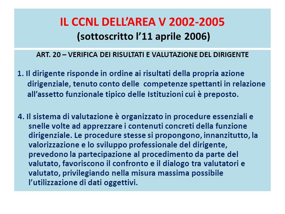 IL CCNL DELL'AREA V 2002-2005 (sottoscritto l'11 aprile 2006)
