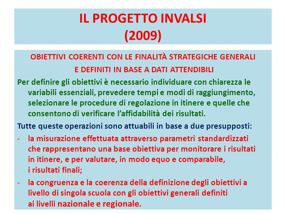 IL PROGETTO INVALSI (2009) OBIETTIVI COERENTI CON LE FINALITÀ STRATEGICHE GENERALI. E DEFINITI IN BASE A DATI ATTENDIBILI.
