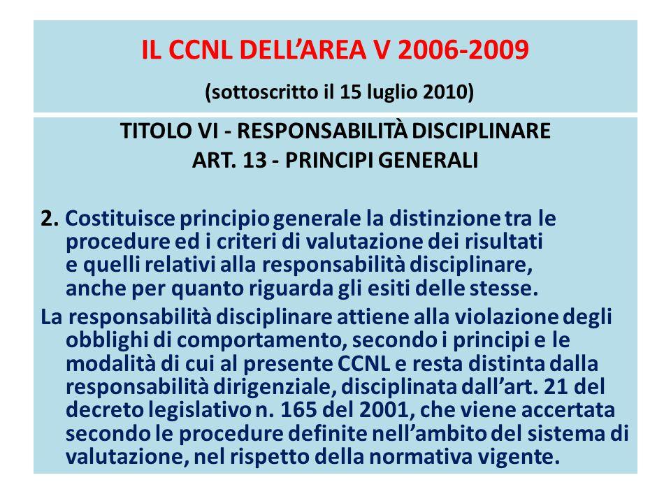 IL CCNL DELL'AREA V 2006-2009 (sottoscritto il 15 luglio 2010)