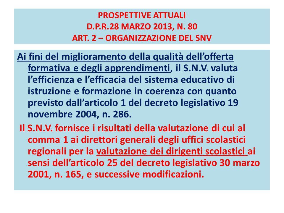 PROSPETTIVE ATTUALI D. P. R. 28 MARZO 2013, N. 80 ART