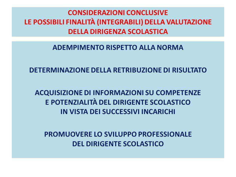 CONSIDERAZIONI CONCLUSIVE LE POSSIBILI FINALITÀ (INTEGRABILI) DELLA VALUTAZIONE DELLA DIRIGENZA SCOLASTICA