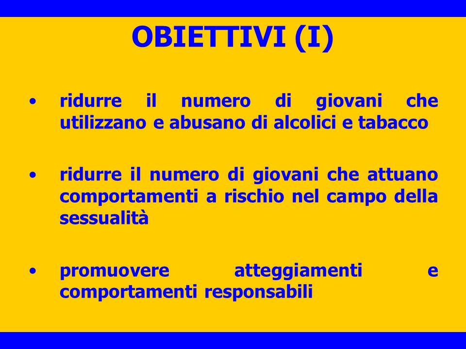 OBIETTIVI (I) ridurre il numero di giovani che utilizzano e abusano di alcolici e tabacco.