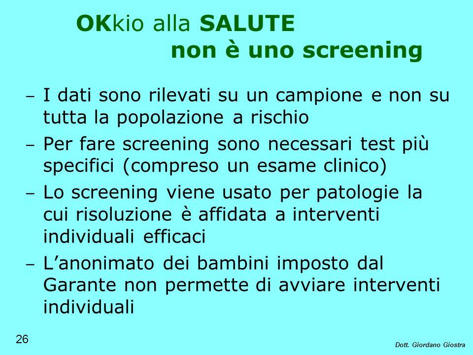 OKkio alla SALUTE non è uno screening