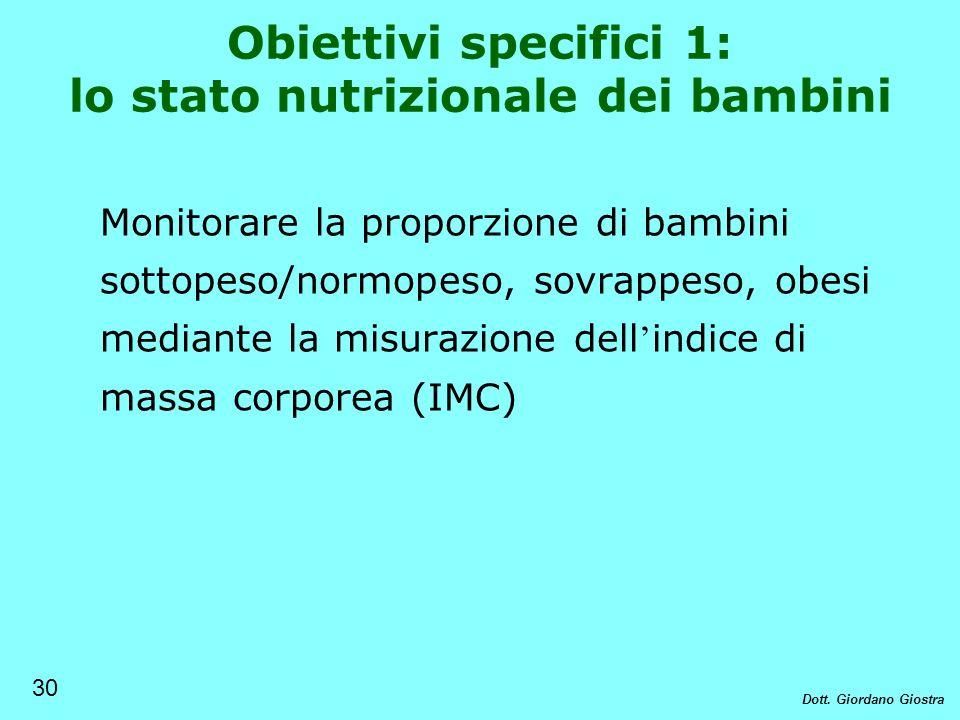 Obiettivi specifici 1: lo stato nutrizionale dei bambini