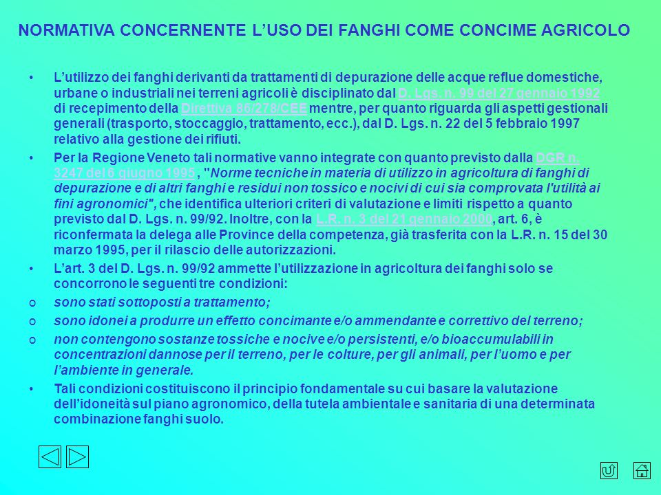 NORMATIVA CONCERNENTE L'USO DEI FANGHI COME CONCIME AGRICOLO