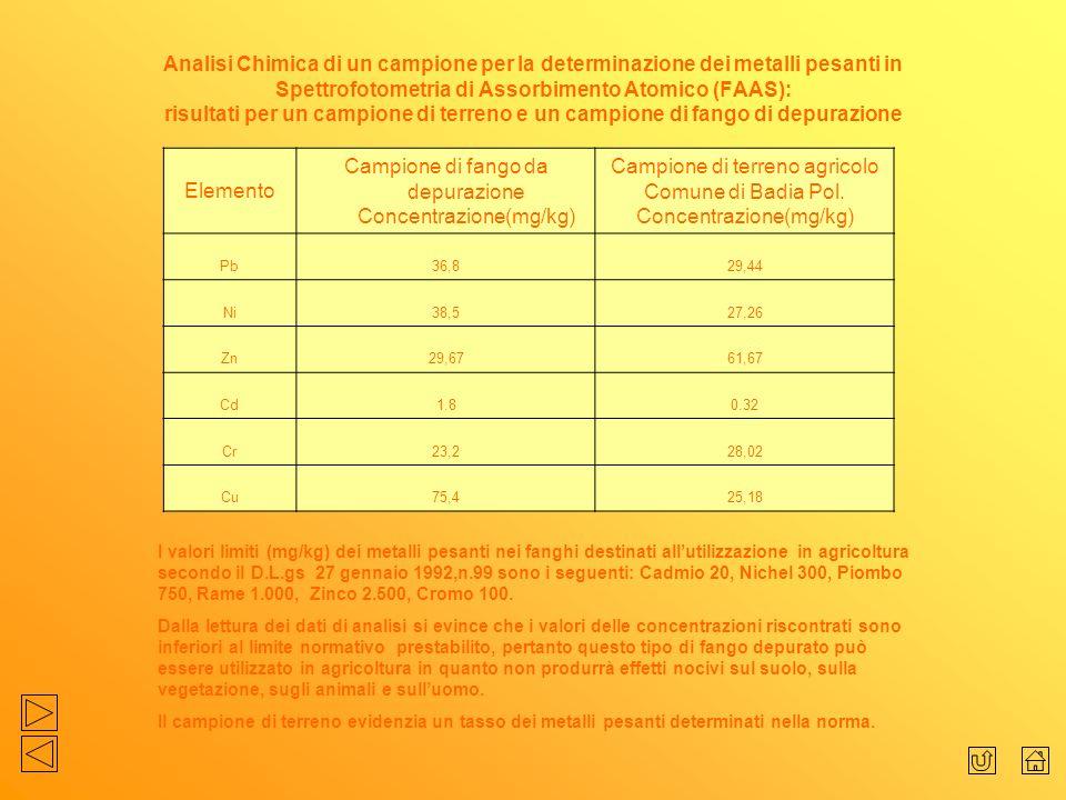 Campione di fango da depurazione Concentrazione(mg/kg)