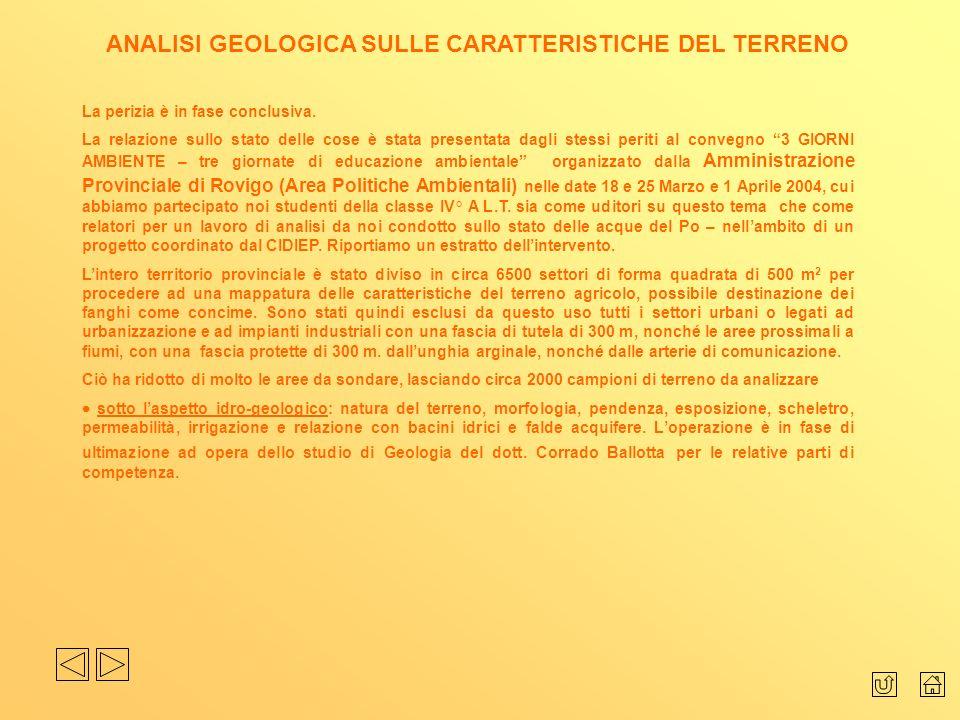 ANALISI GEOLOGICA SULLE CARATTERISTICHE DEL TERRENO
