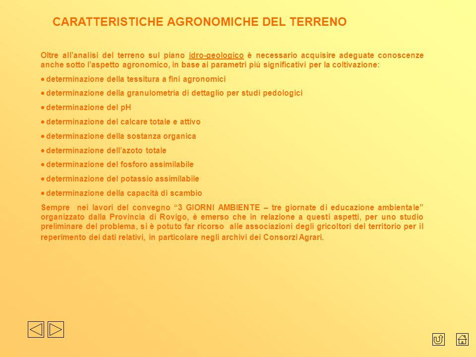 CARATTERISTICHE AGRONOMICHE DEL TERRENO
