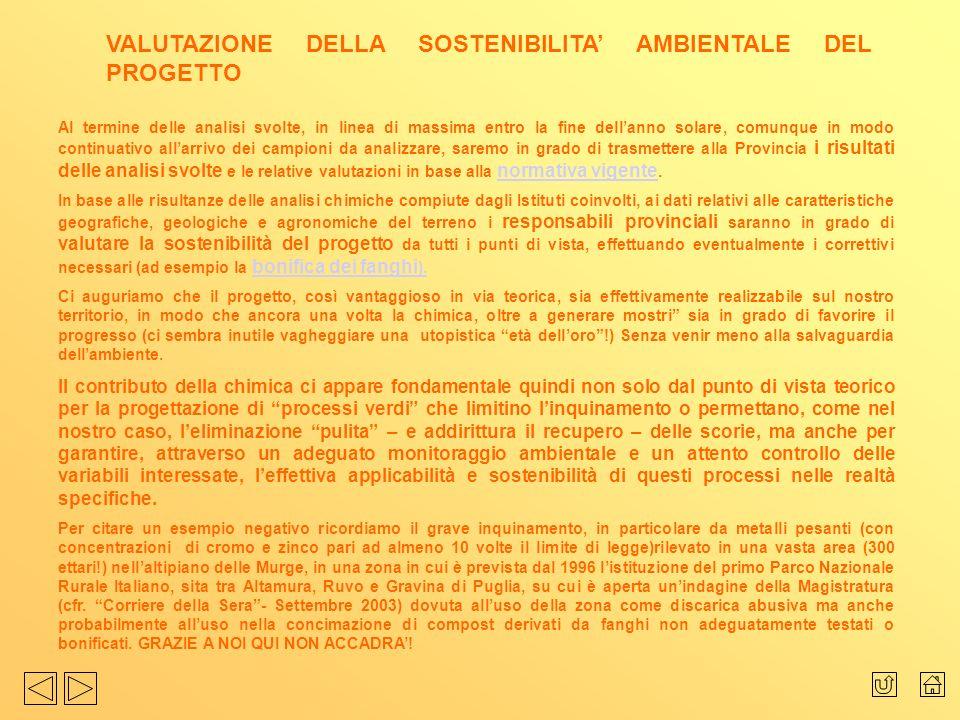 VALUTAZIONE DELLA SOSTENIBILITA' AMBIENTALE DEL PROGETTO